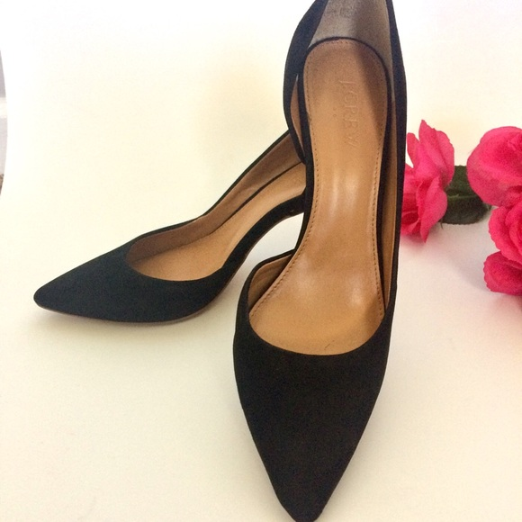 J. Crew Suede D'Orsay Pump Black Heels Size 7.5